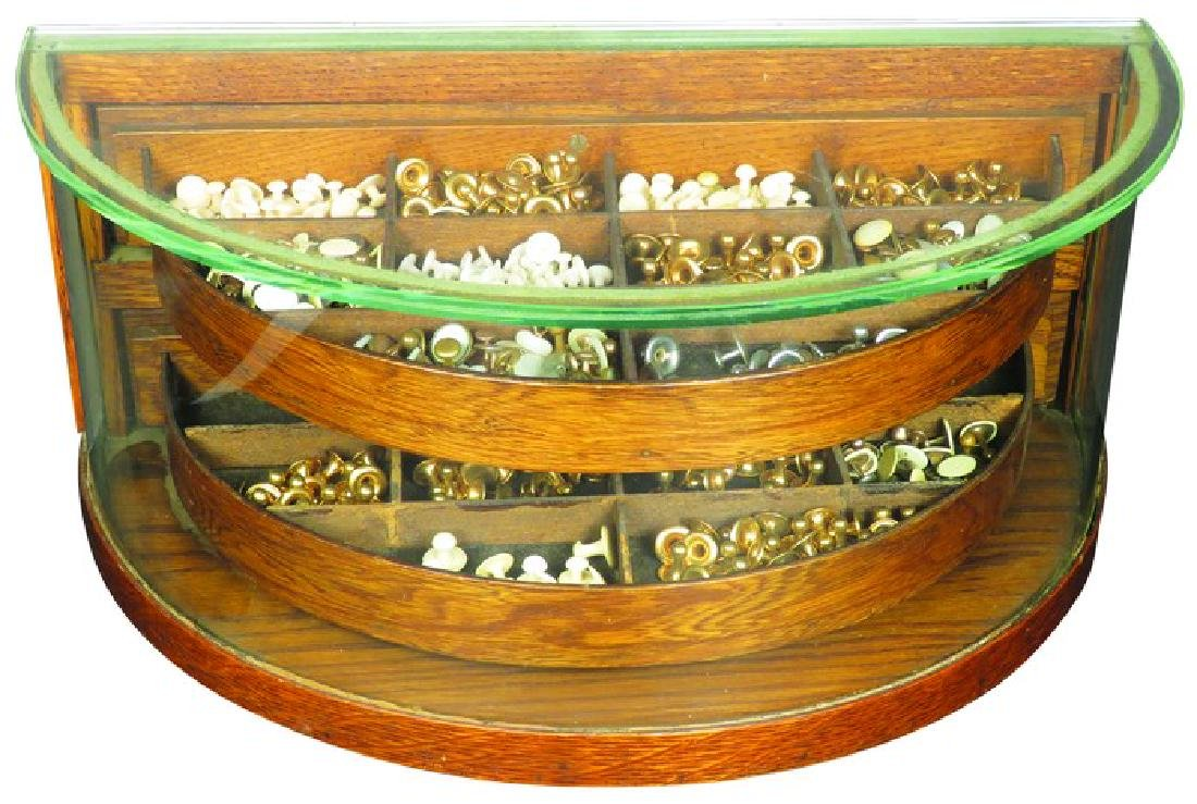 Curved Glass Collar Button Store Display Case