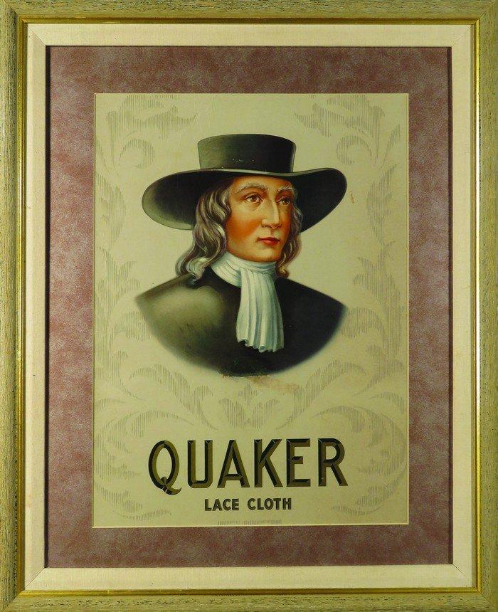 Quaker Lace Collar Cardboard Sign