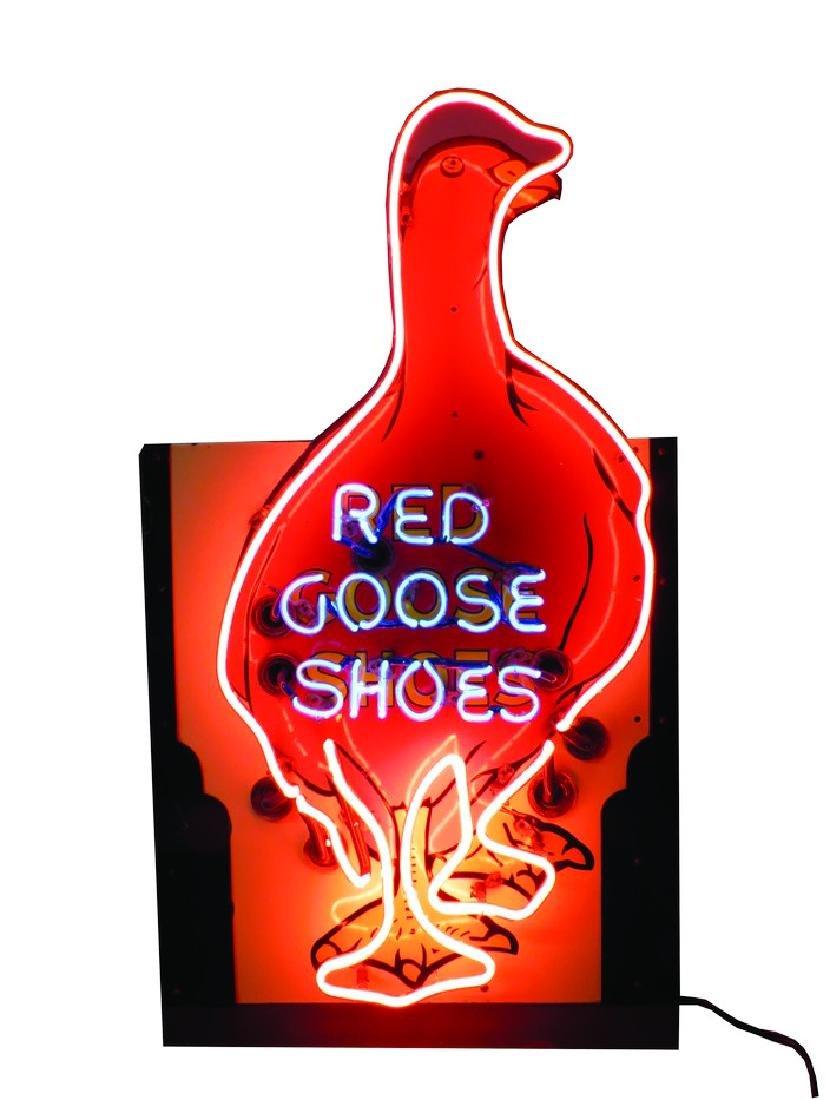 Red Goose Shoe Neon Porcelain Sign