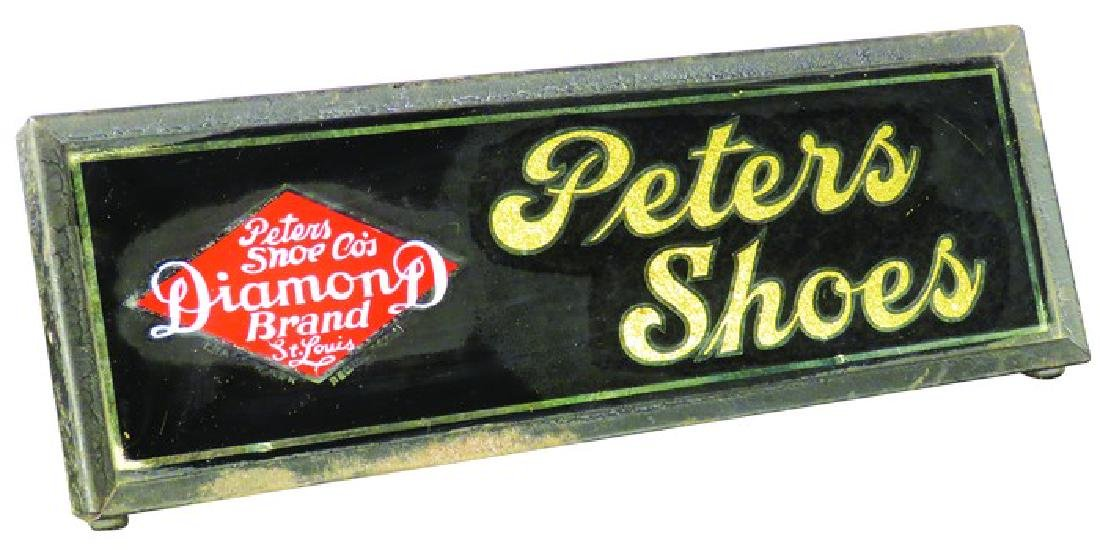 Peters Shoes Reverse Glass Counter Sign