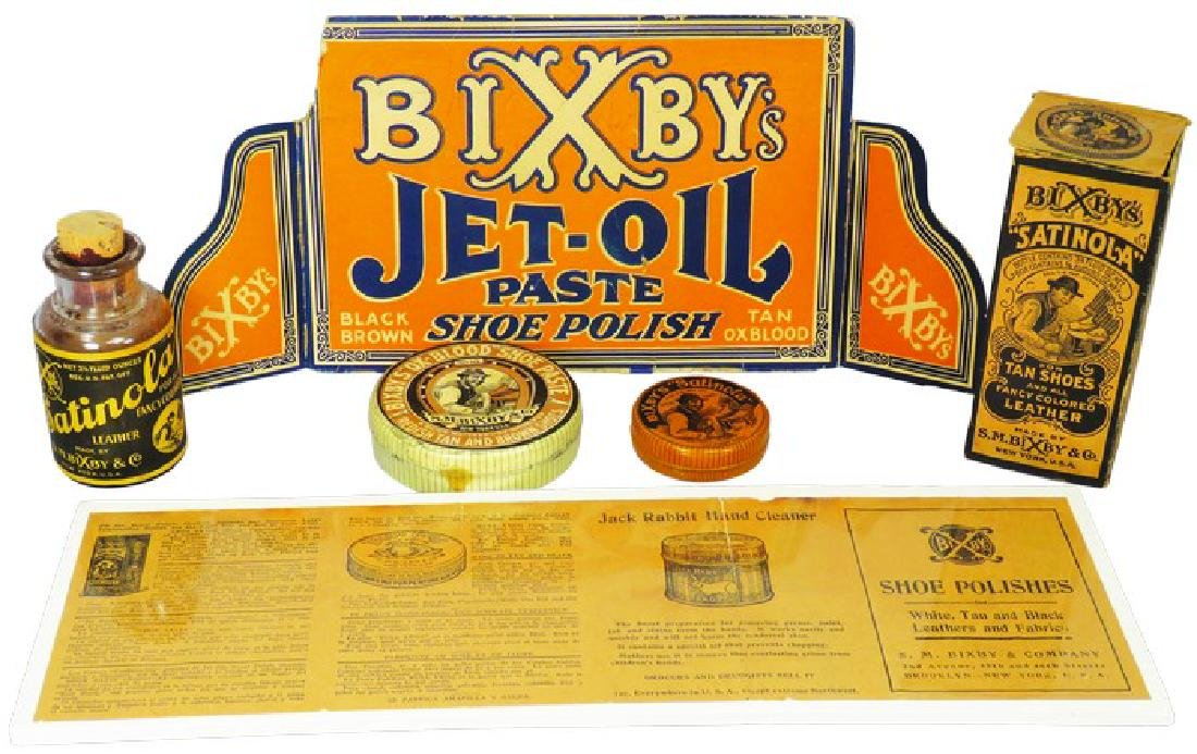 Collection of Bixby's Shoe Polish Items