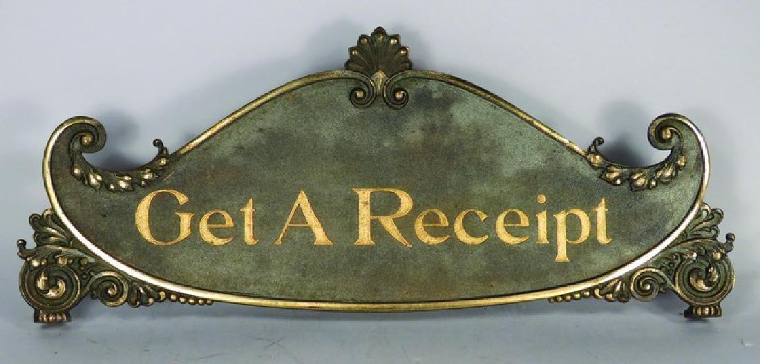 National Cash Register Large Brass Top Sign
