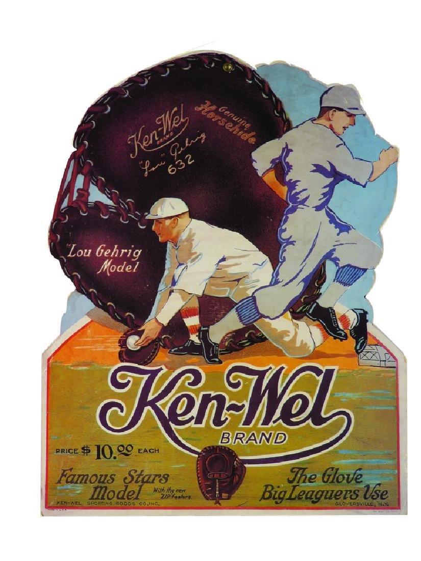 Ken-Wel Brand Baseball Glove Die Cut Sign