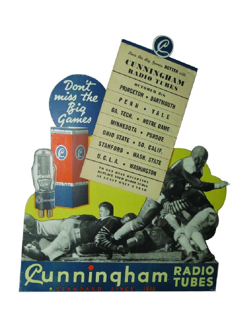 Cunningham Radio Tubes Die-Cut Cardboard Sign