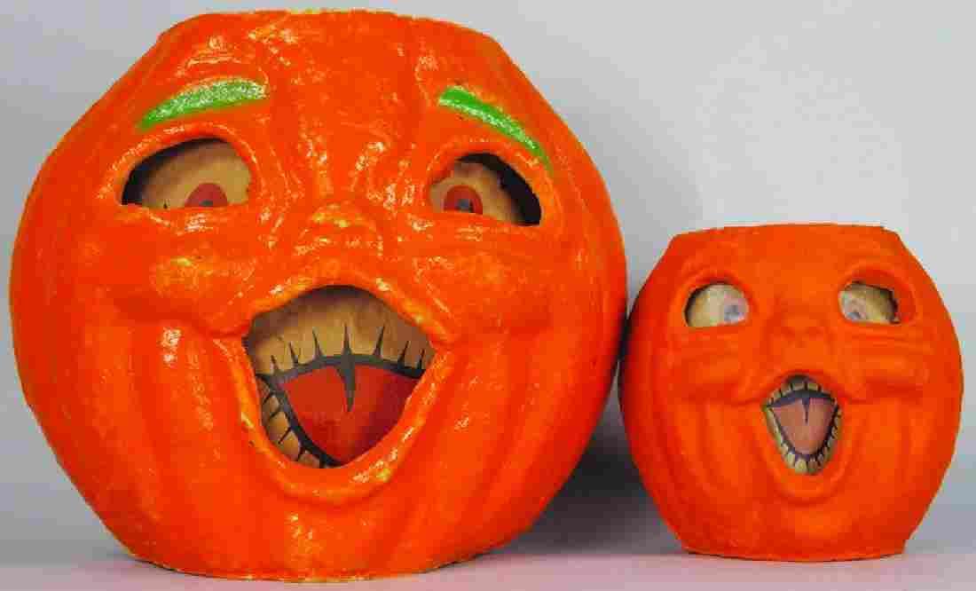 2 Jack O Lantern Molded Pulp Halloween Lanterns