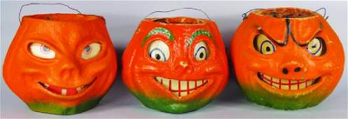 3 Jack O Lantern Molded Pulp Halloween Lanterns