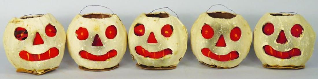 5 Vintage Cardboard German Halloween Lanterns