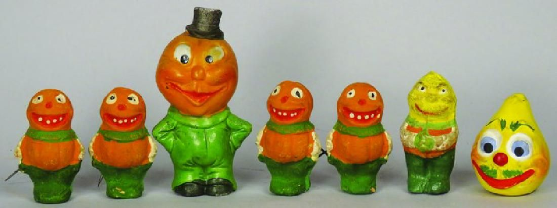 Collection of 7 Vintage Clay Halloween Figures