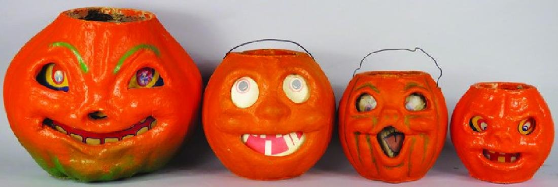 4 Jack O Lantern Molded Pulp Halloween Lanterns