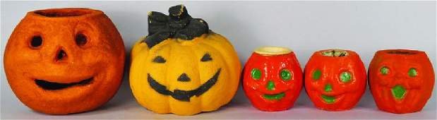 5 Jack O Lantern Molded Pulp Halloween Items