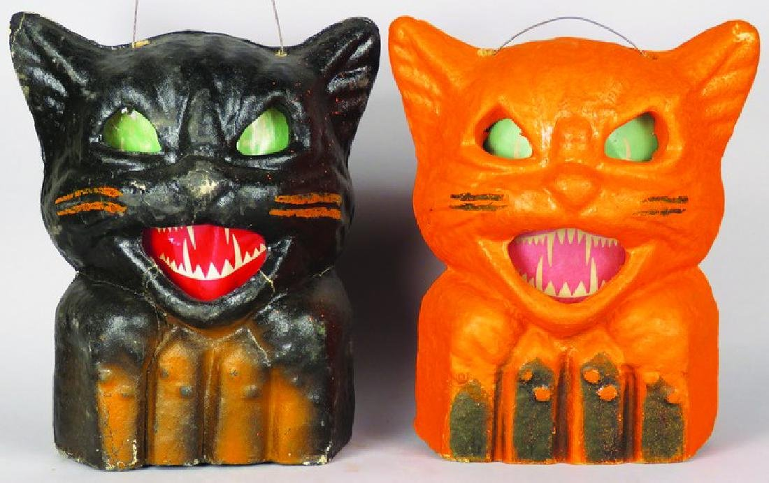 2 Cat on a Fence Molded Paper Halloween Lanterns