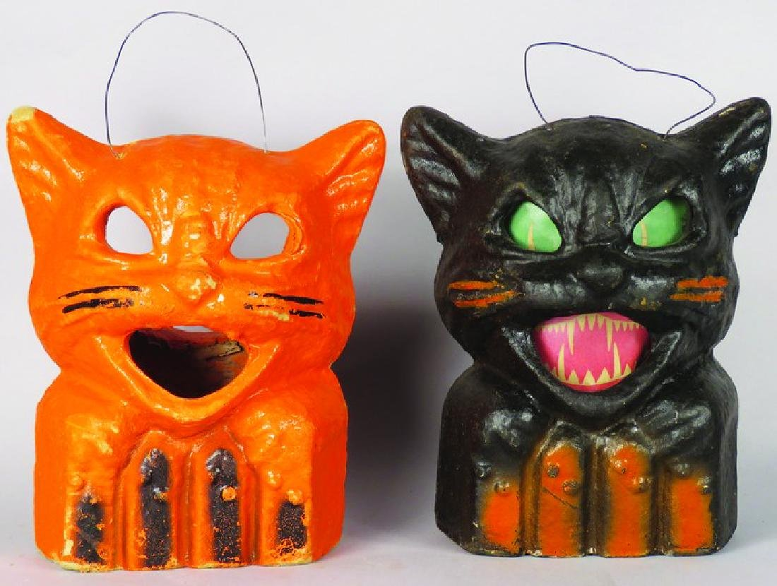 Two Cat on Fence Molded Pulp Halloween Lanterns