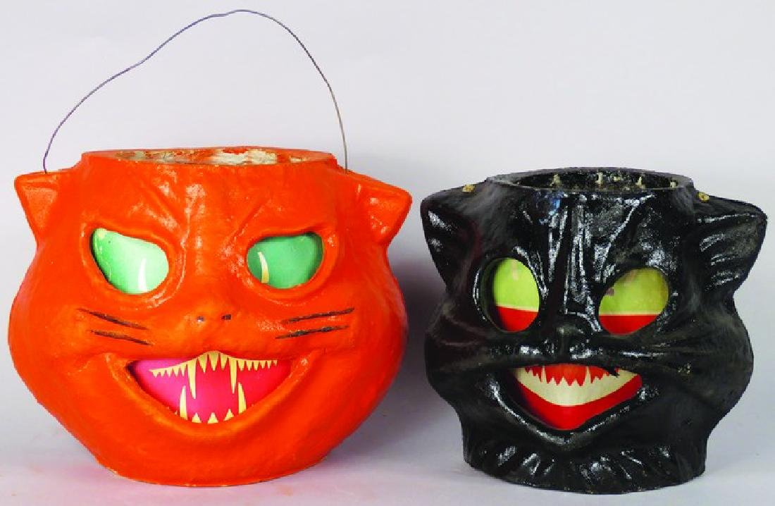 Two Cat Molded Pulp Paper Halloween Lanterns