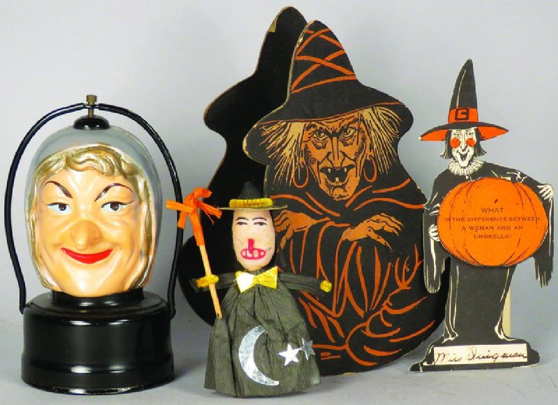 Four Vintage Halloween Witch Items