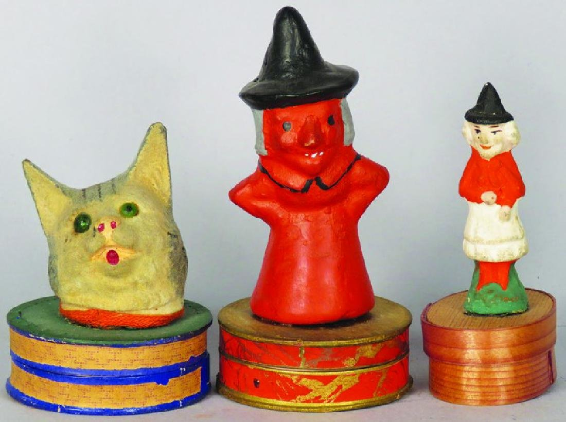 Three Miniature Clay Halloween Candy Containers