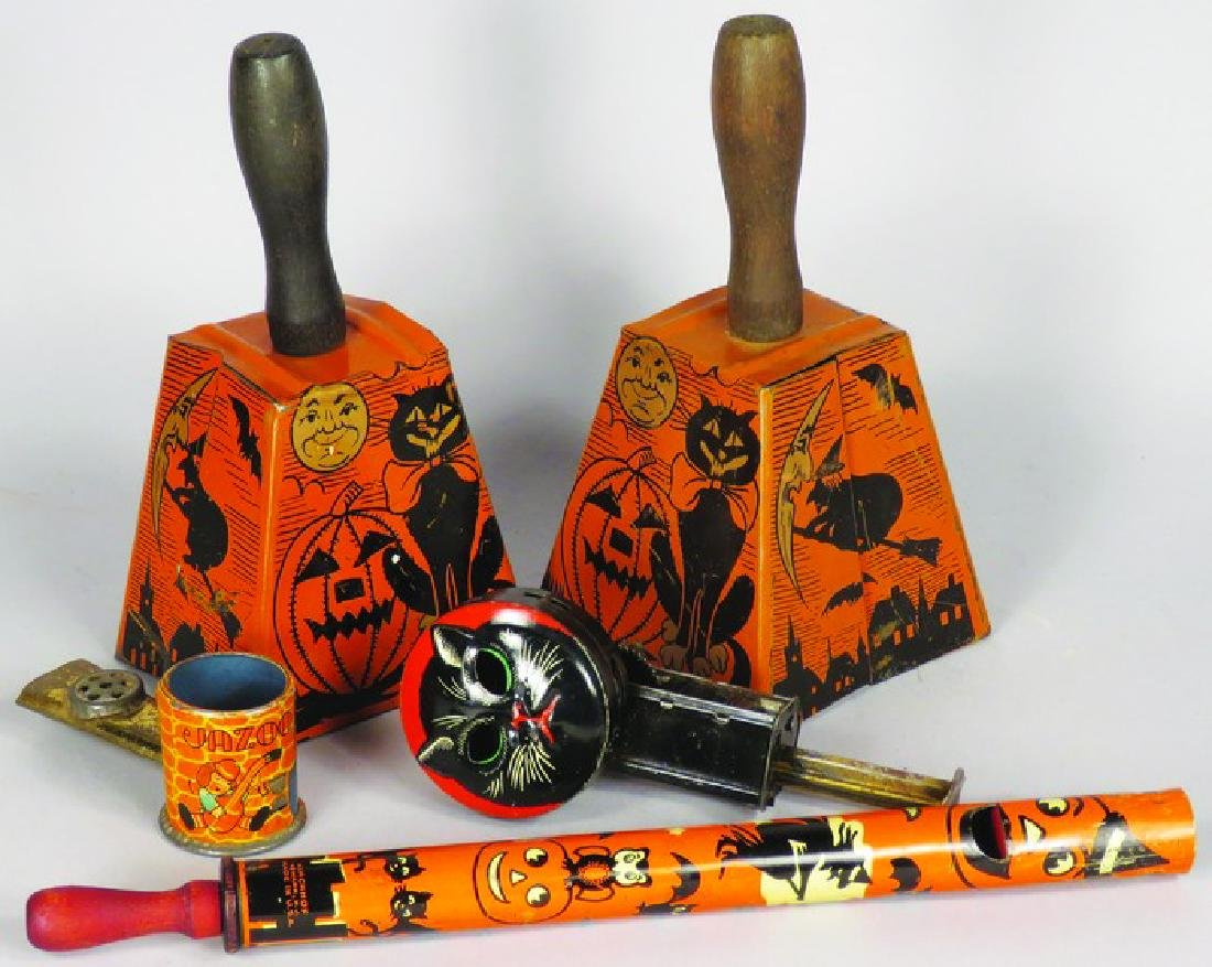 Five Vintage Tin Halloween Noise Makers