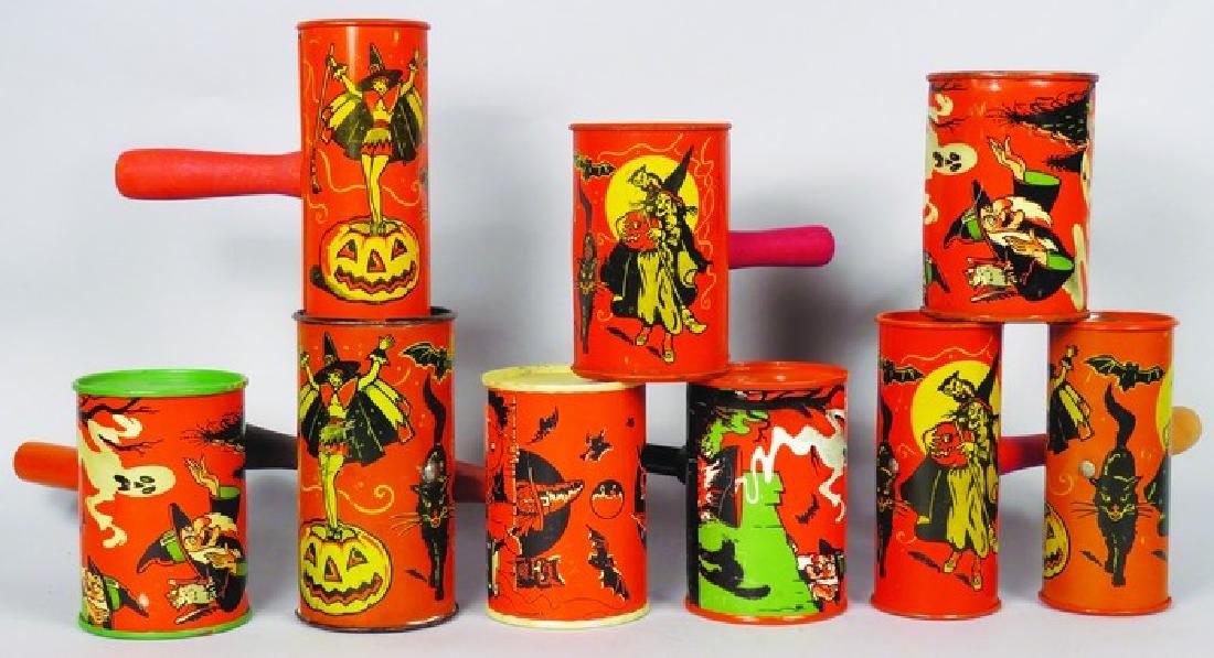 Nine Vintage Tin Halloween Shaker Noise Makers