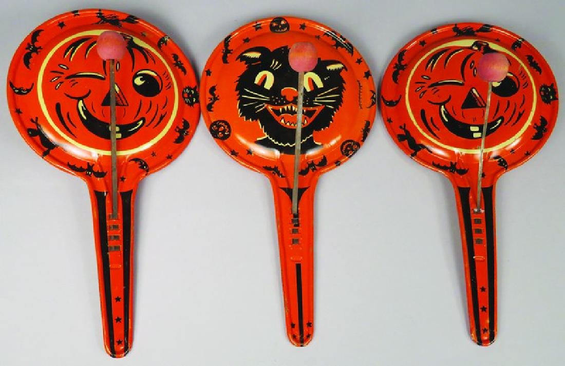 Three Vintage Tin Halloween Clanger Noise Makers