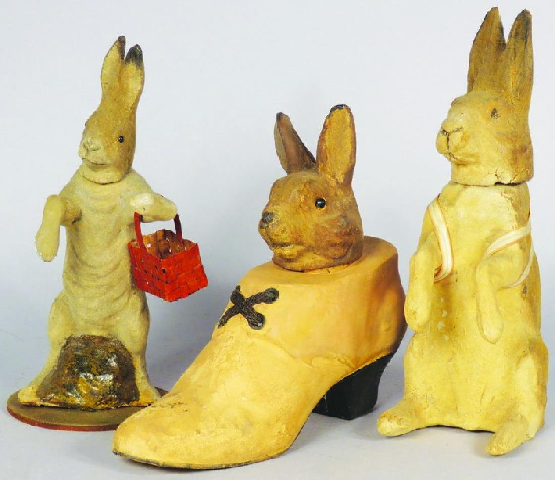 3 German Paper Mache Easter Candy Containers