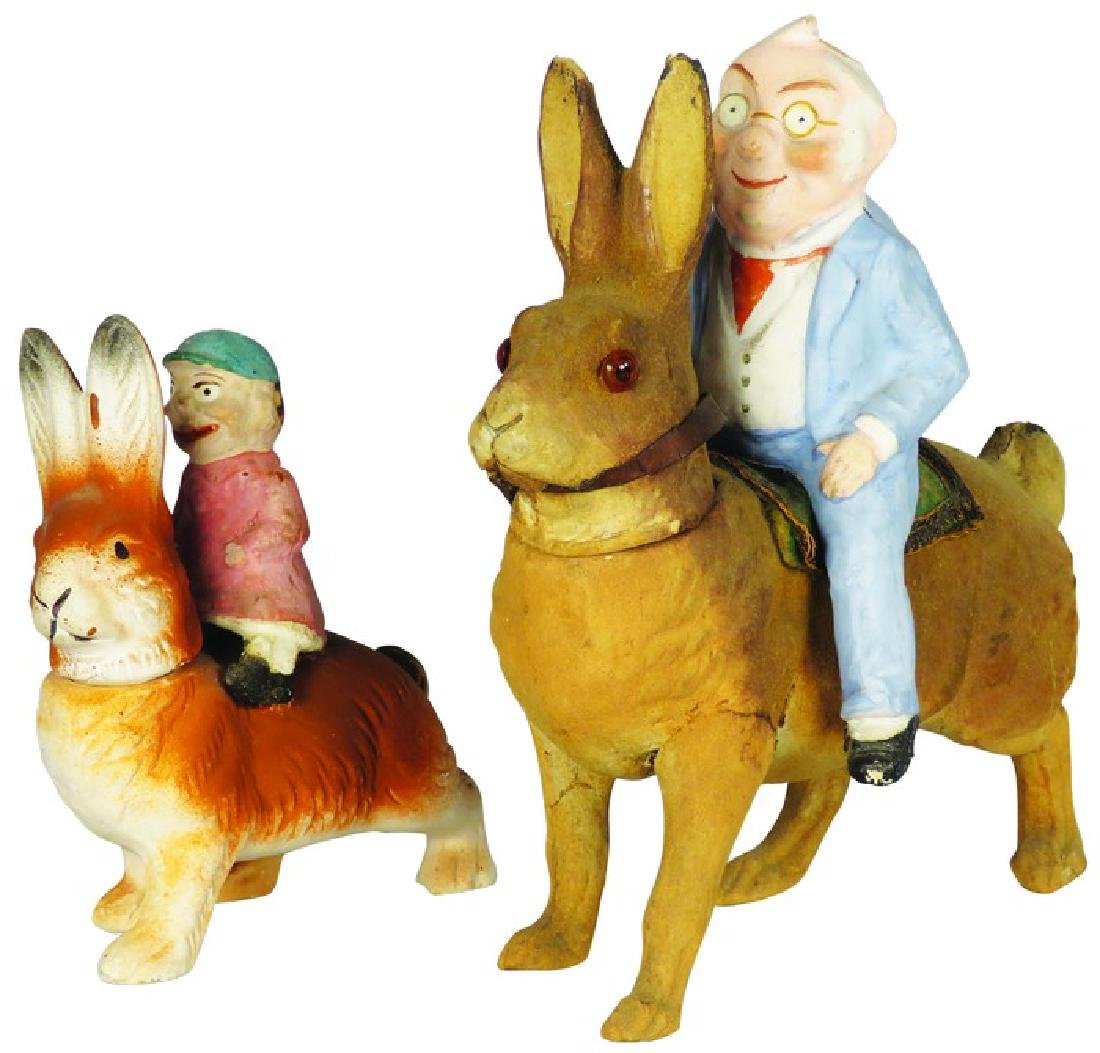 2 German Paper Mache Easter Candy Containers