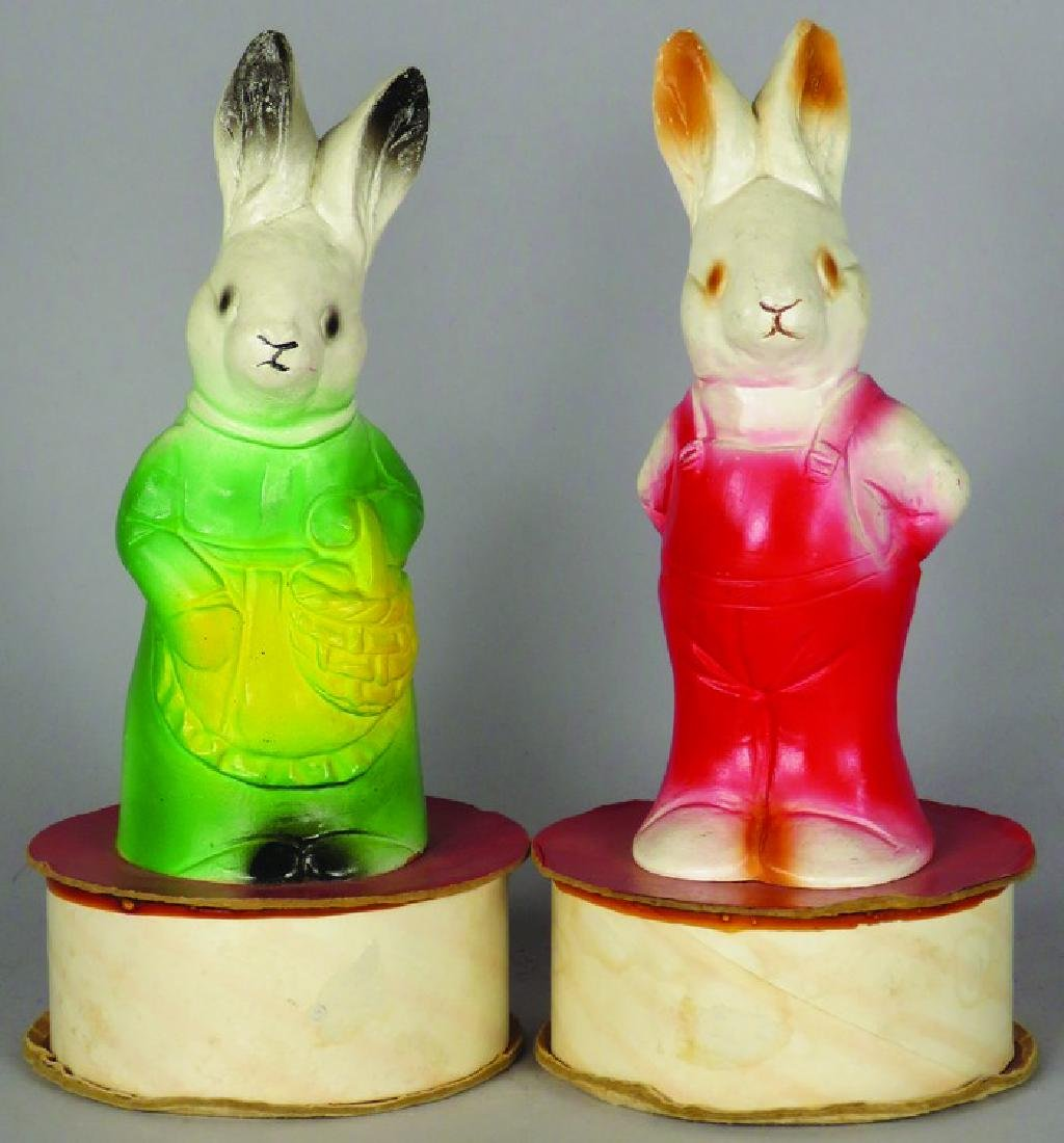 2 Composite Easter Bunny Candy Containers