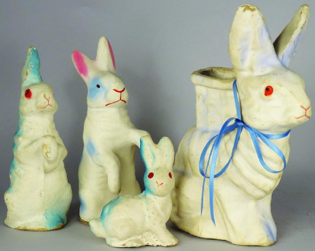 4 German Paper Mache Easter Candy Containers
