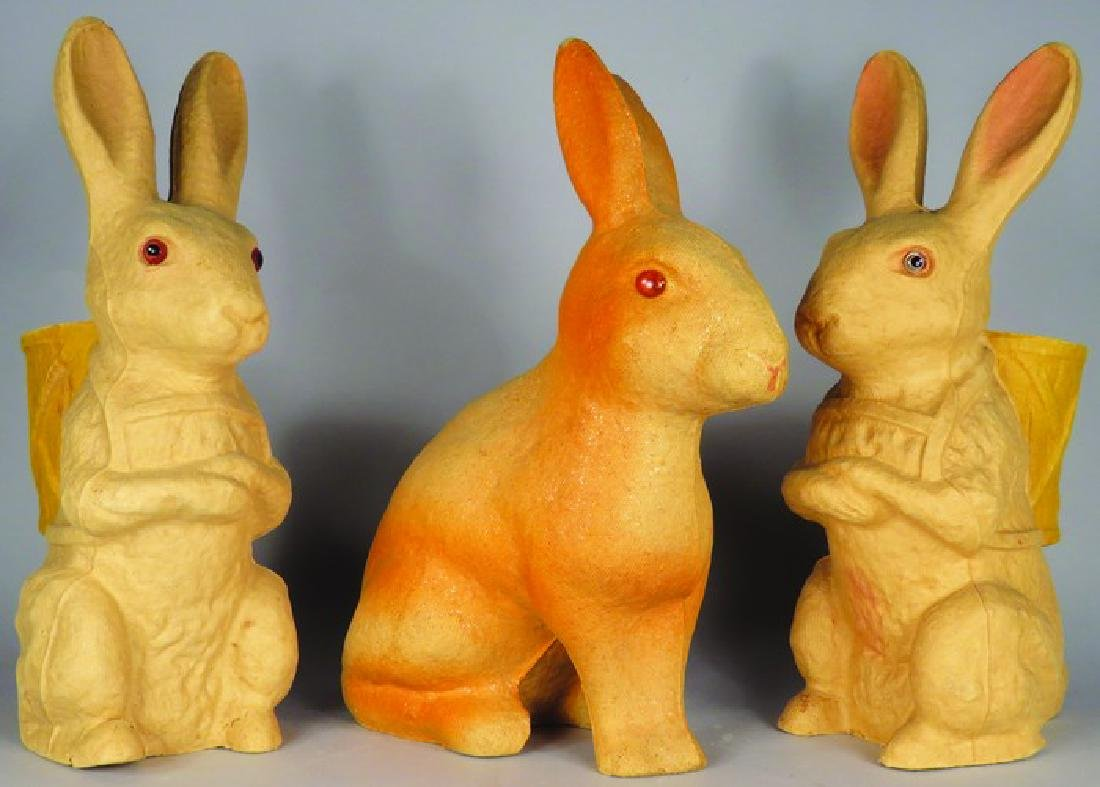 3 Vintage Molded Pulp Easter Candy Containers