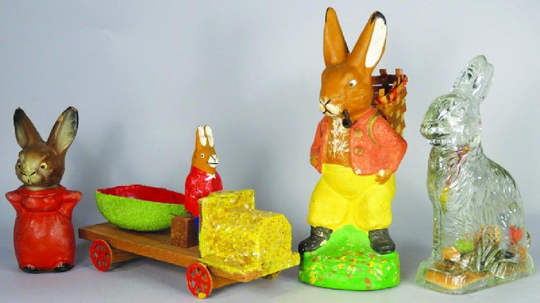 Collection of Four Easter Bunny Candy Containers