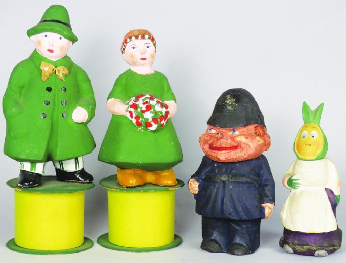 4 German Paper Mache Figural Candy Containers