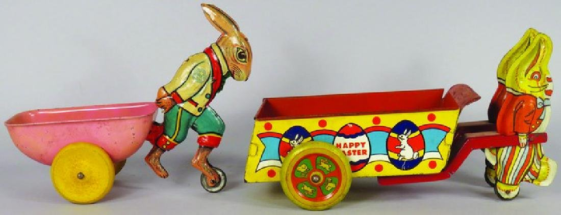 Two Vintage Tin Litho Easter Toys