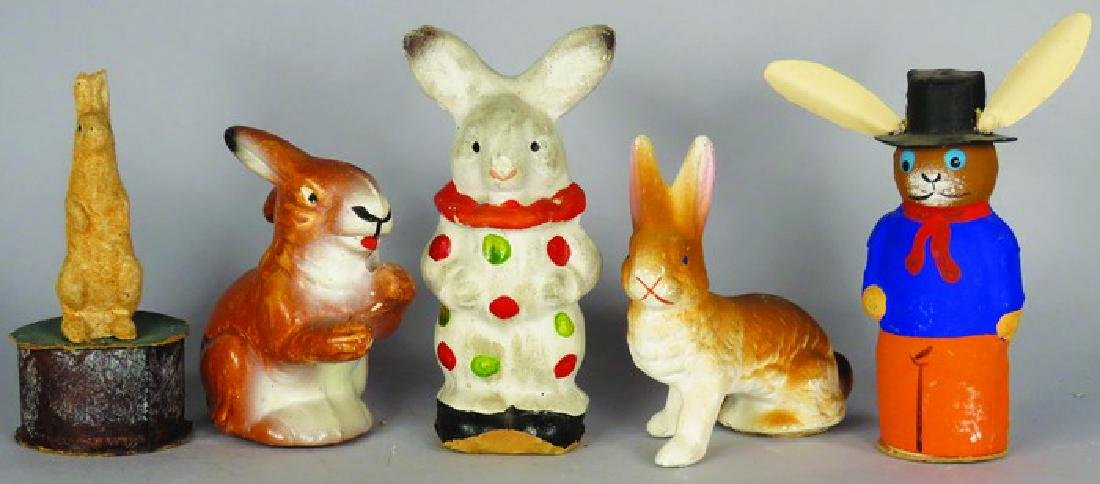 5 German Easter Bunny Candy Containers