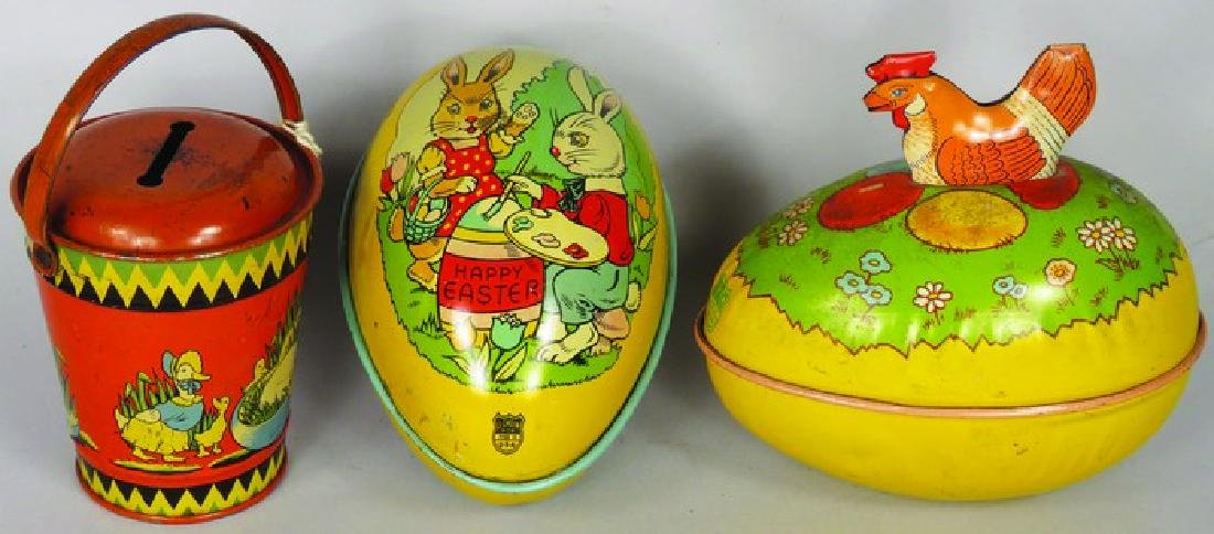 Vintage Tin Litho Easter Candy Containers