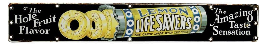 Rare Lemon Lifesavers Porcelain Sign