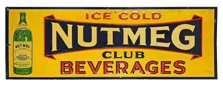 Nutmeg Club Beverages Embossed Tin Sign