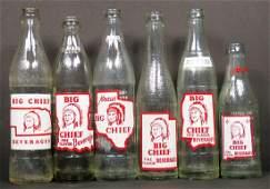 Six Coca Cola Big Chief Beverage Bottles