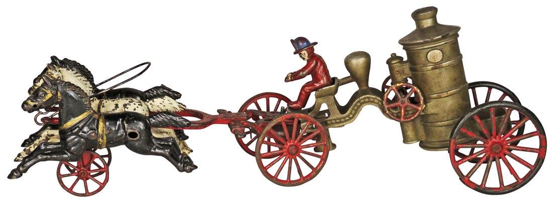 Hubley Cast Iron Horse Drawn Fire Steamer Toy