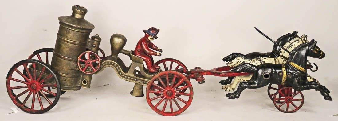 Hubley Cast Iron Horse Drawn Fire Steamer Toy - 2