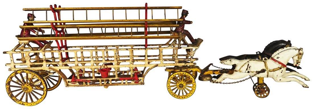 Hubley Cast Iron Horse Drawn Ladder Truck Toy