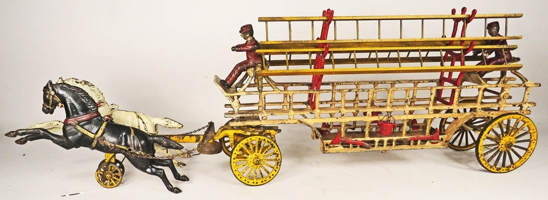 Hubley Cast Iron Horse Drawn Ladder Truck Toy - 2