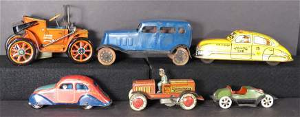 Collection of Six Tin and Pressed Steel Vintage Toys