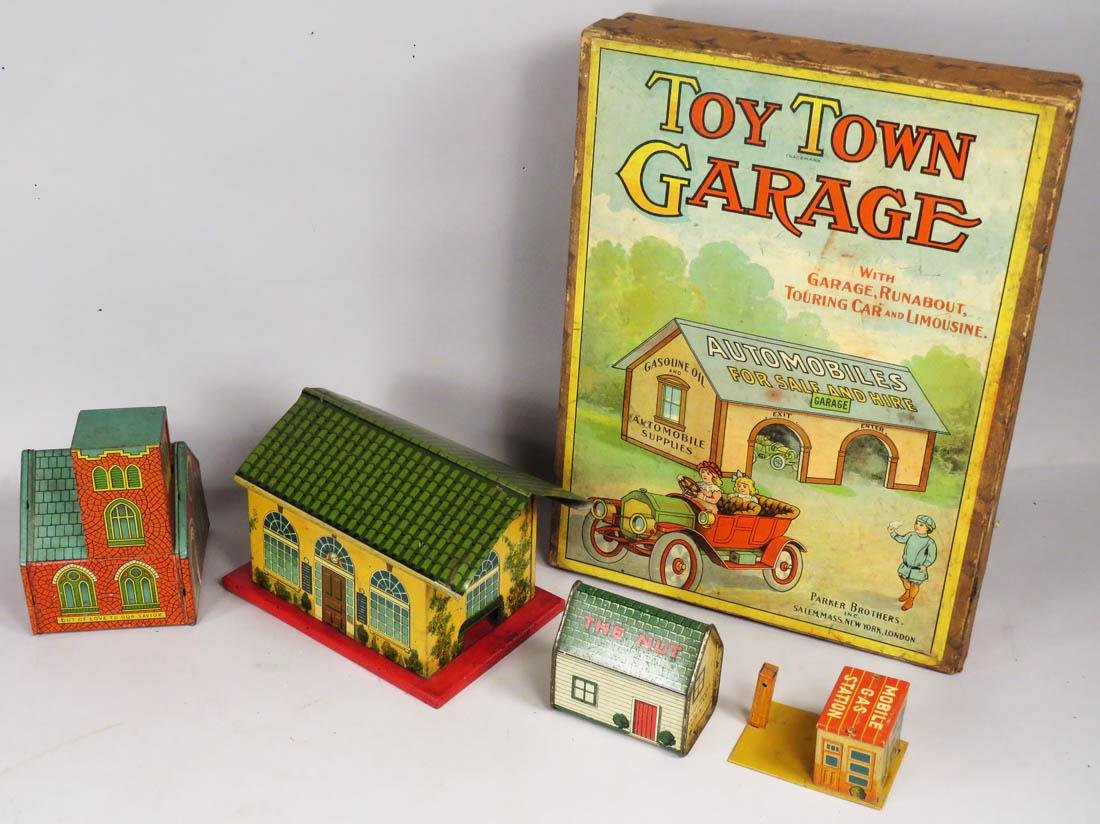 Toy Town Garage Game Box and Tin Toy Buildings