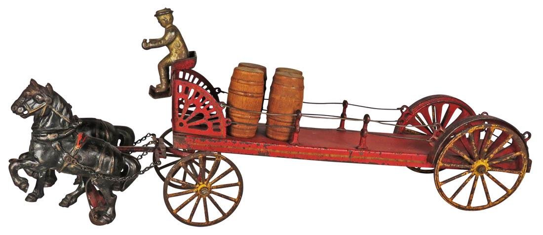 Antique Hubley Cast Iron and Tin Delivery Wagon Toy