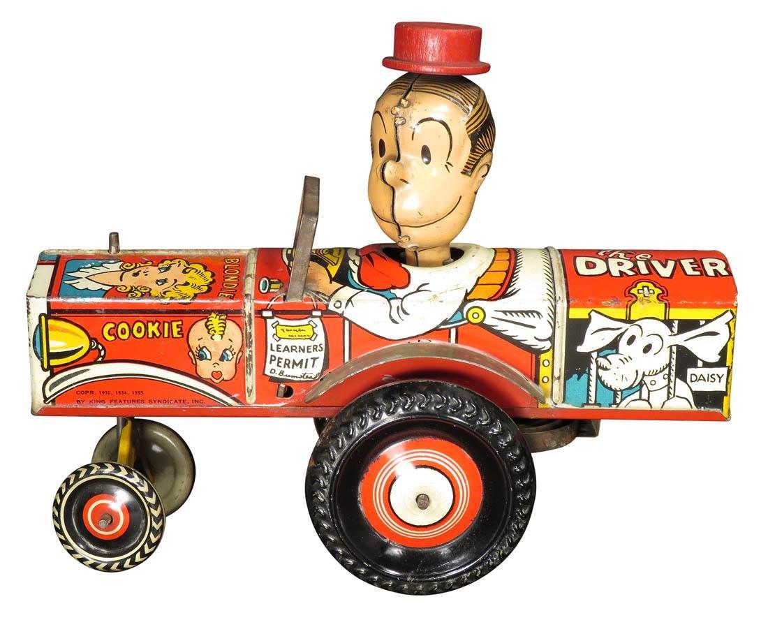 Louis Marx Tin Litho Wind Up Dagwood Driver Toy