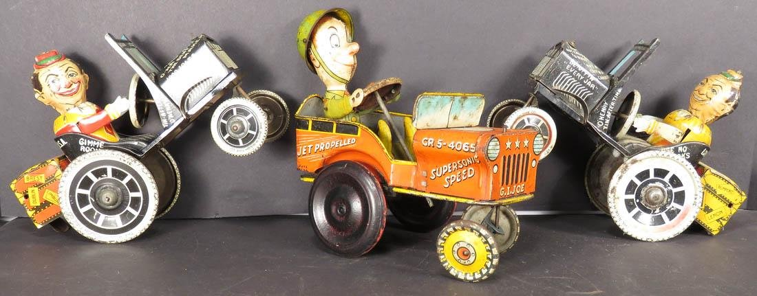 Three Vintage Tin Litho Wind Up Toy Cars