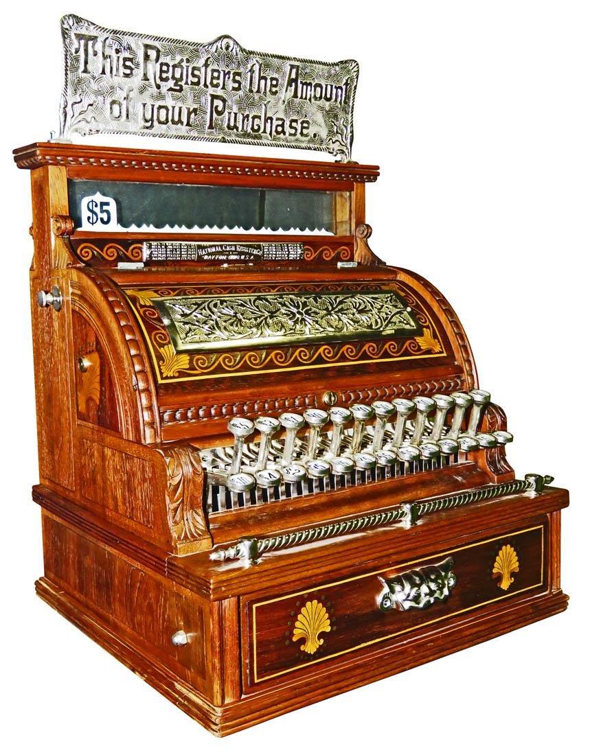 Inlaid Wood National Cash Register Model