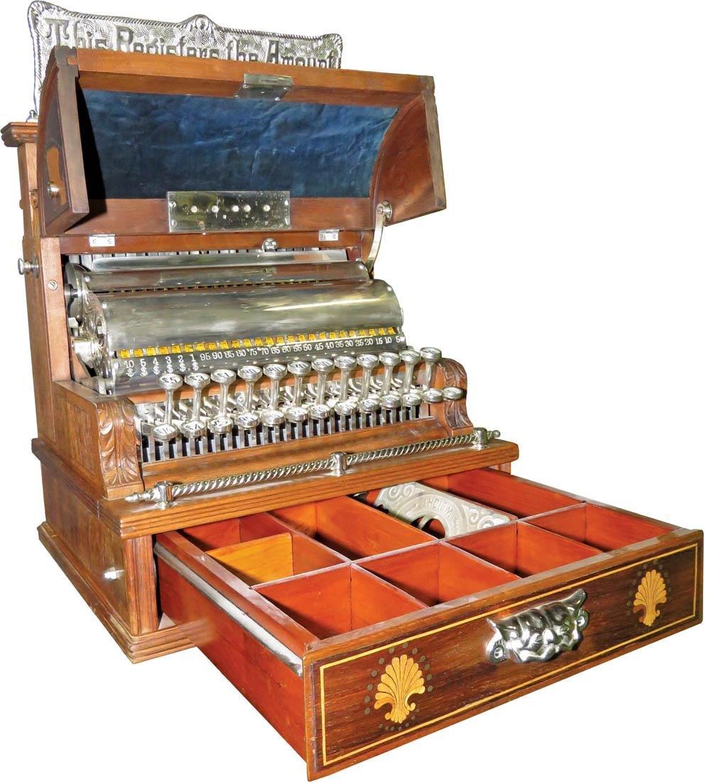 Inlaid Wood National Cash Register Model - 2