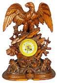 Antique Black Forest Carved Eagle Mantle Clock