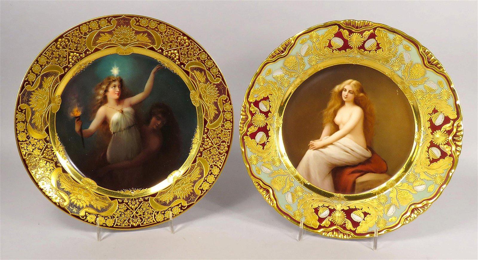 Two Antique Royal Vienna Porcelain Art Plates