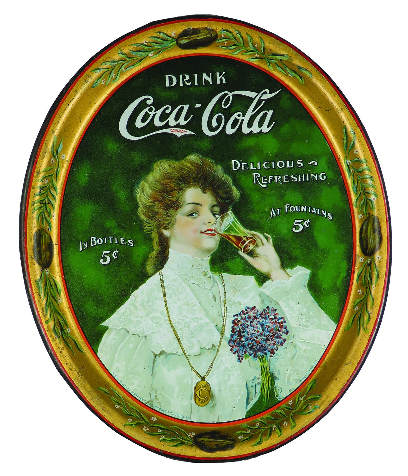 1905 Original Coca Cola Tin Serving Tray
