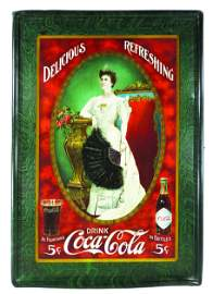 "1904 Coca Cola Self Framed ""Lillian Nordica"" Tin Sign"